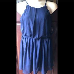 NWT Navy Blue Crepe IZ Byer Halter Mini Dress